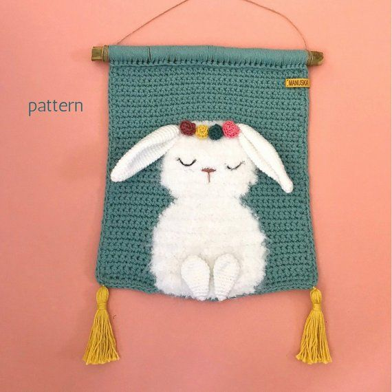 Bunny Wall Hanging Pattern Tapestry Crochet Wall Hanging   Etsy