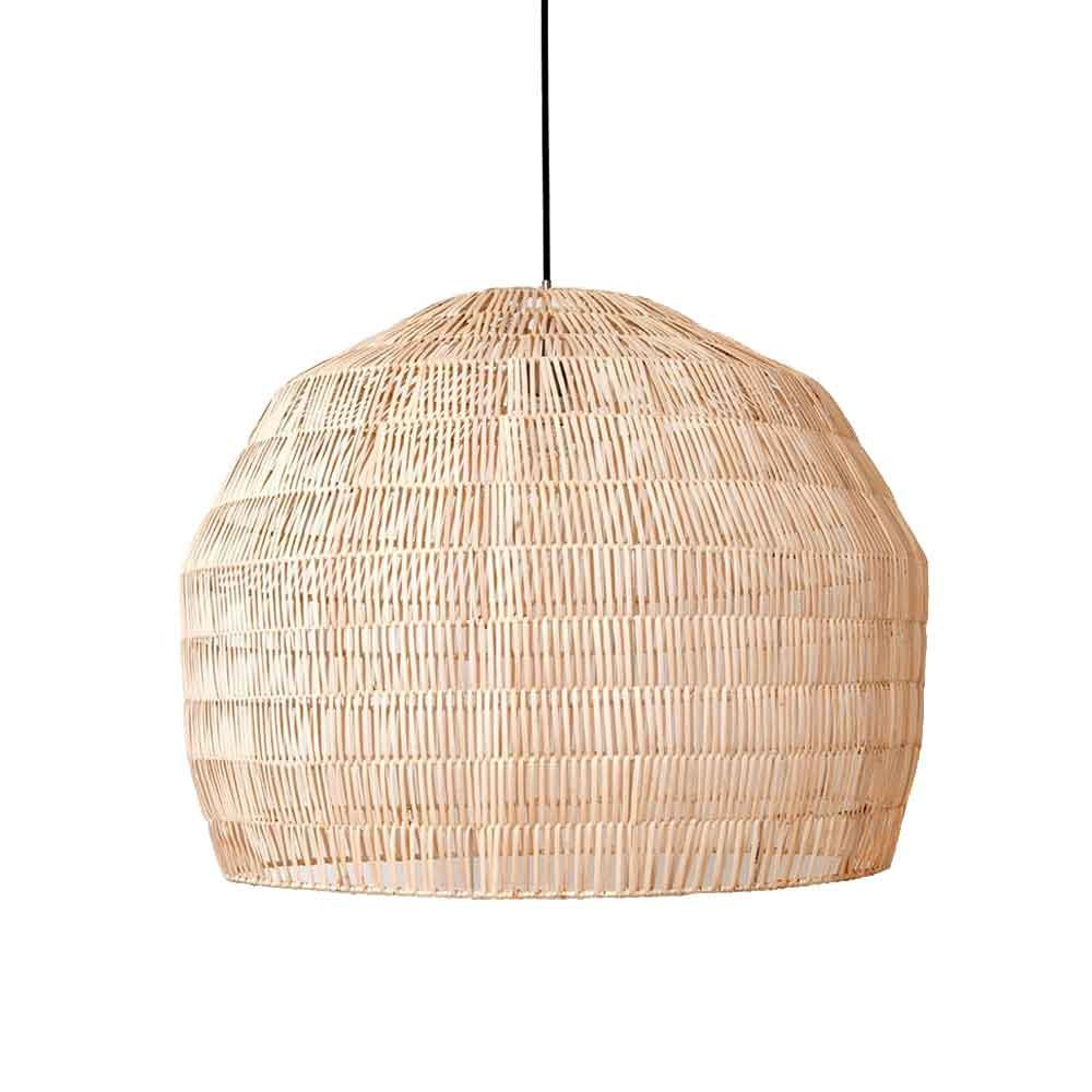 Lampe Design Naturfarben Papier und Rattan