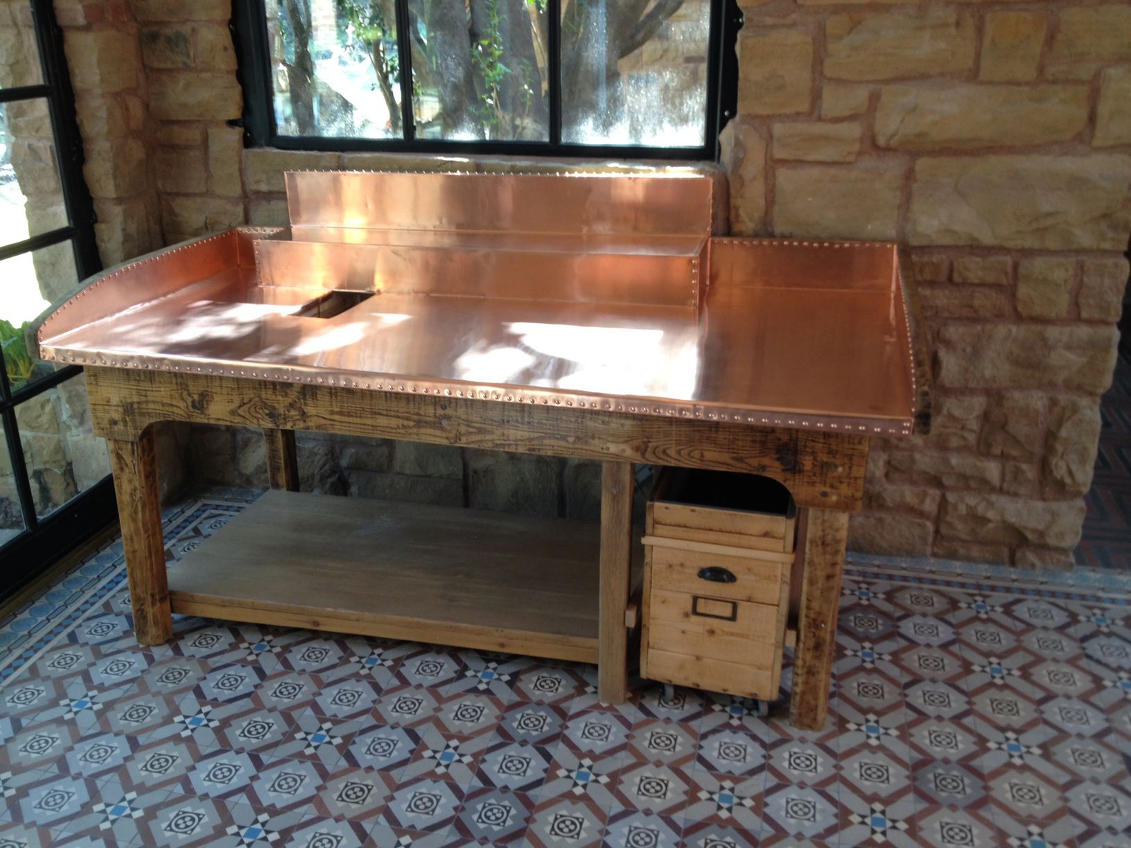 The Copper Top On This Beautiful Antique Apple Sorting Table Was Created  Using Our Raw 22