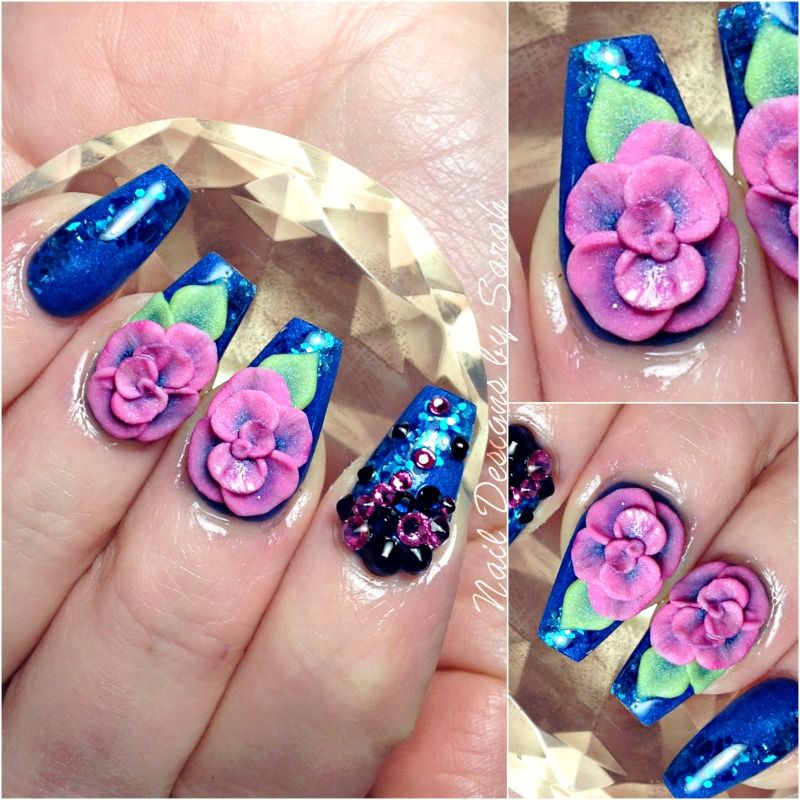 Coffin nails with giant 3d sculpted acrylic roses floral
