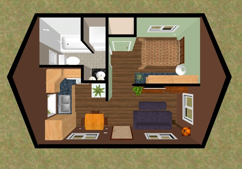 3d top view of the floor plan of the 320 sq ft skylight mountain house layout planstiny
