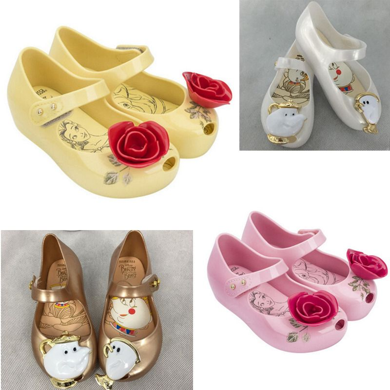Girls Jelly Shoes Beauty And The Beast Rose Sandals Kid Mrs Potts