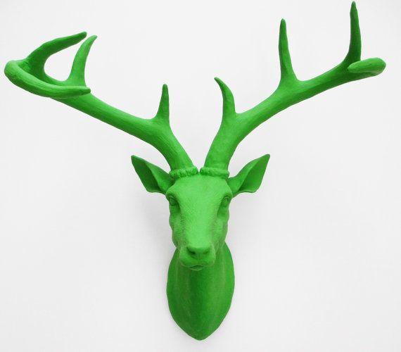 Deer head faux deer head green stag head deer faux taxidermy