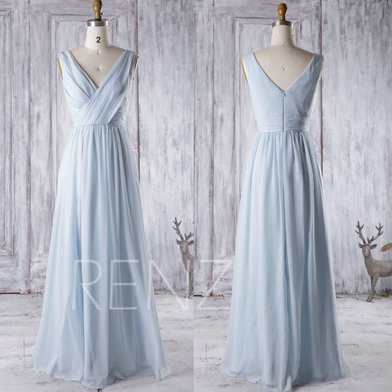 Light blue chiffon bridesmaid dress v neck wedding dress for Light blue dress for wedding
