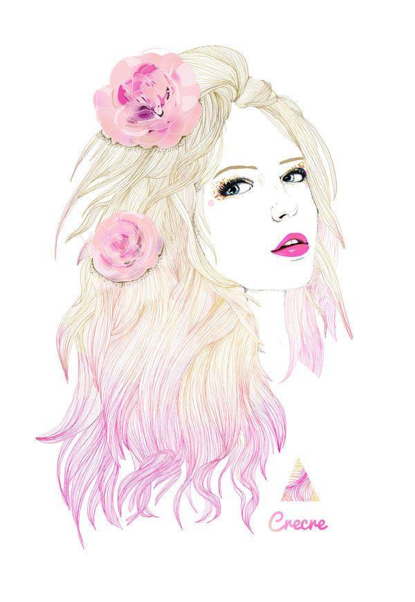 Flowers girl pastel color crecre art mademoiselle fashion mode belle jolie fille 600 - Dessin de fille belle ...