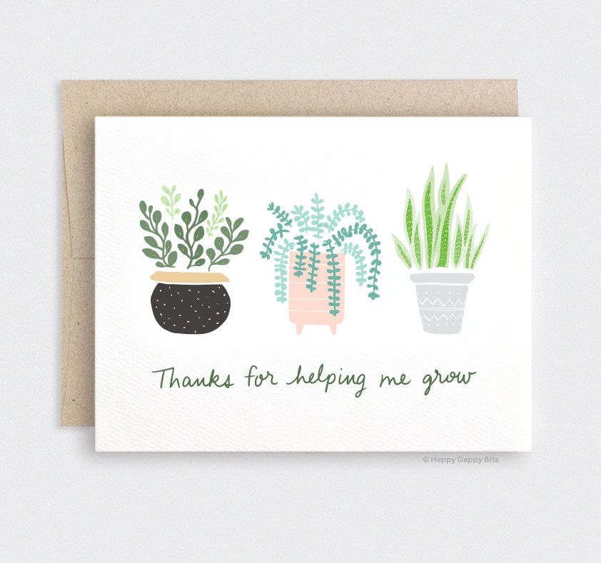Succulents /& Cactus Thank You  Letterpress Printed Card
