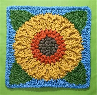 """Sunflower Harvest Square 12"""" - free crochet pattern (with chart) by Laurinda Reddig / ReCrochetions"""