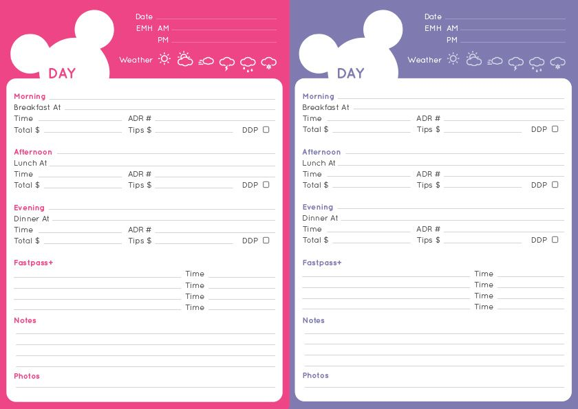 Disney Itinerary and Checklist PDF – Fred and Nicola ...