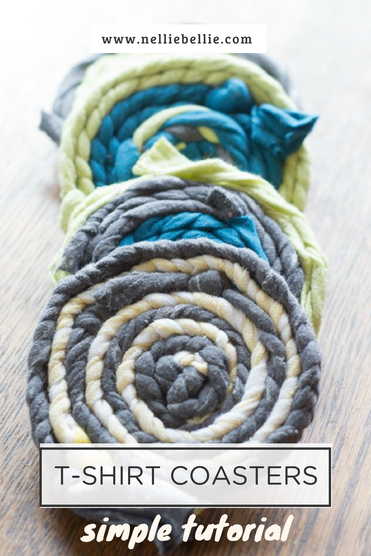 These t-shirt coasters are a great way to recycle old t-shirts into a simple, easy craft. Easy enough for kids to make!