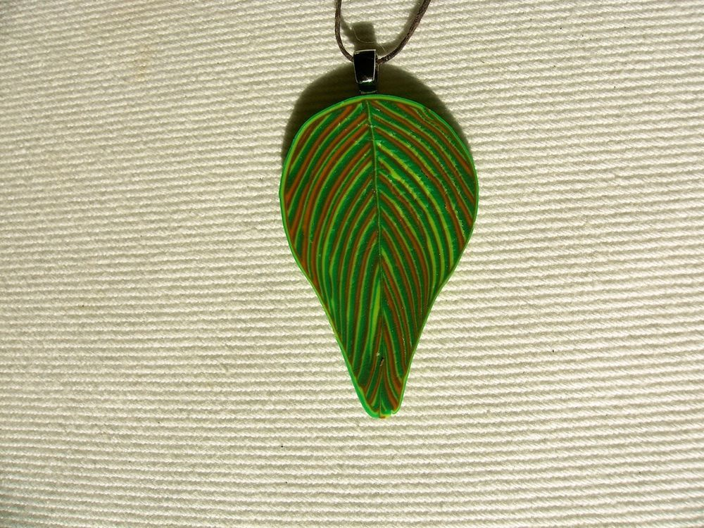 Cool Pendant- Polymer Clay- Handmade- Summer Leaf- Bright Green
