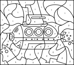 Hard Color By Number Pages Submarine Online Color By Number Submarine Coloring Pages