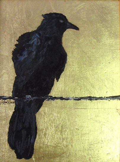 Crow on Wire - Oil on composition gold leaf