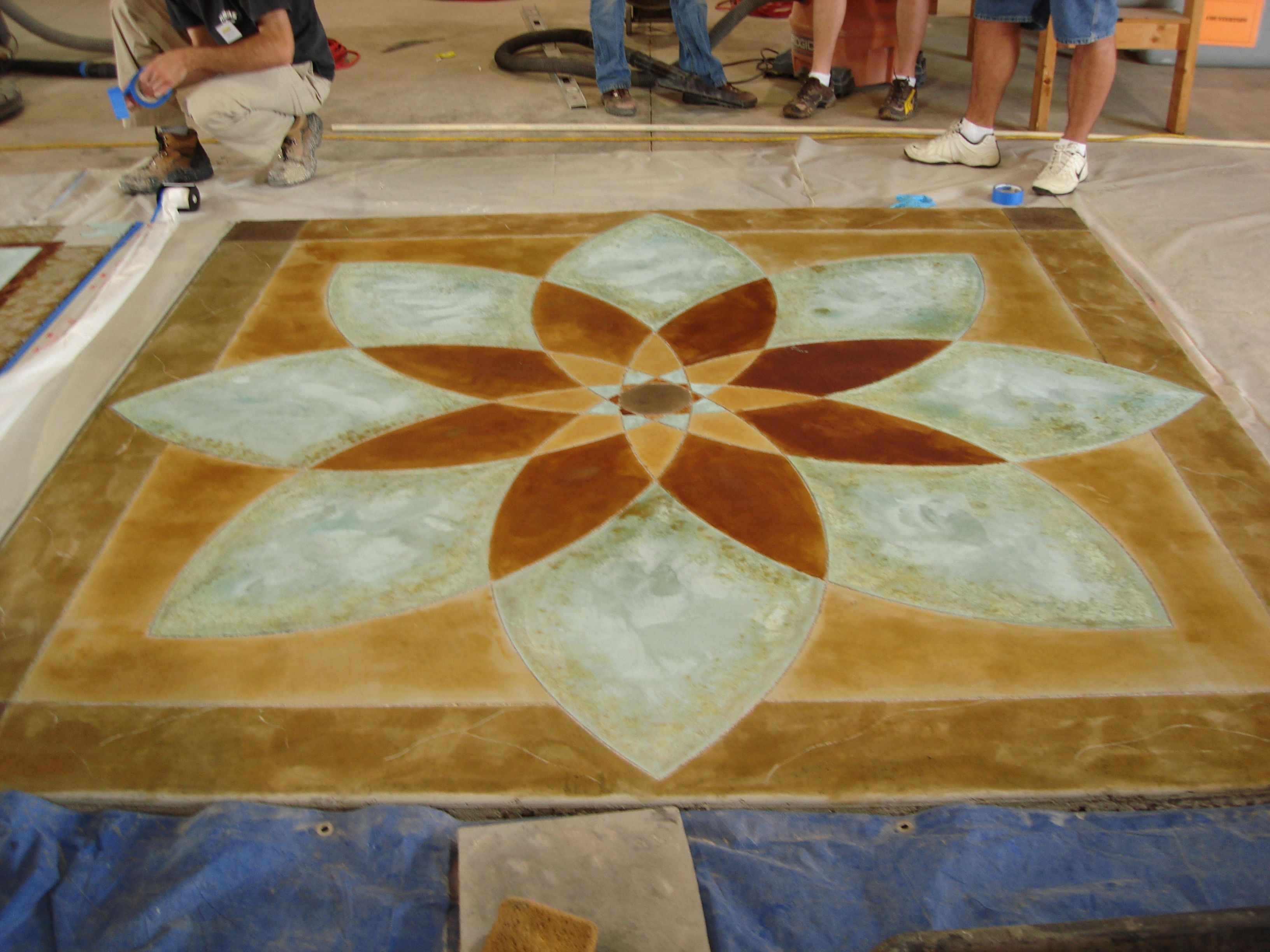 Stained concrete painted area rug under dining room table - How to paint exterior concrete floors ...