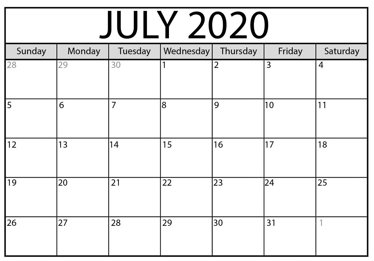 July 2020 Calendar With Holidays For Energetic And Optimistic Printable Calendar Calendar Printables Monthly Calendar Printable Printable Calendar Template