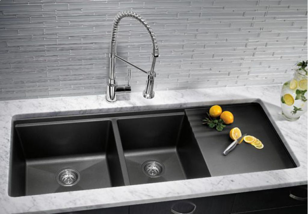 Attractive Slate Black Undermount Kitchen Sinks With Drainer