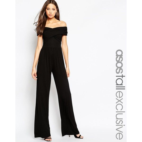 ASOS TALL Jumpsuit With Bardot Neckline & Wide Leg ($51) ❤ liked ...