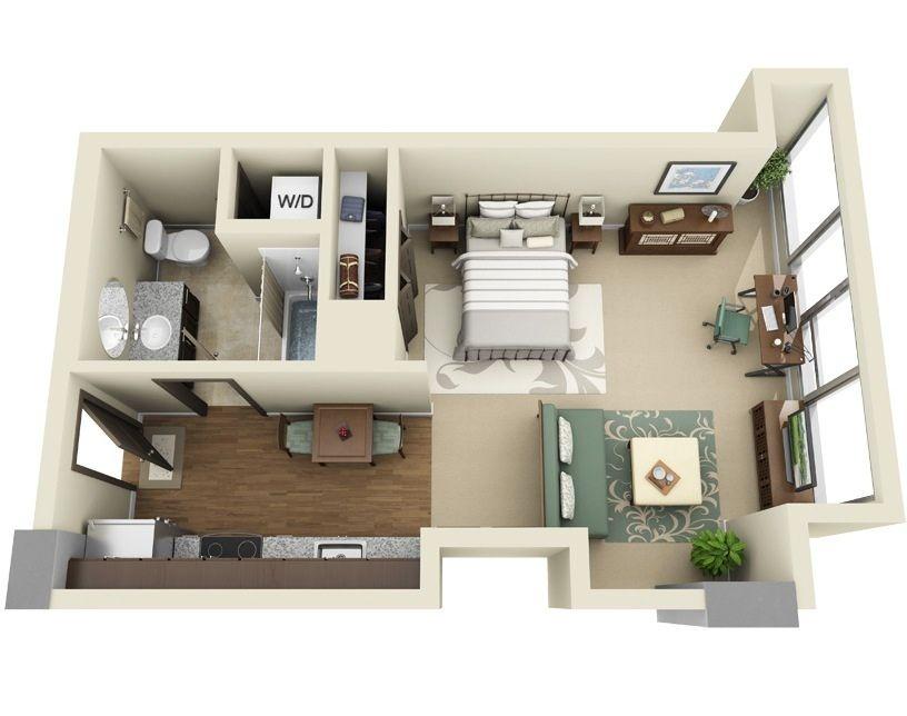 Planos de apartamentos peque os en 3d cocinas casas for Planos apartamentos pequenos
