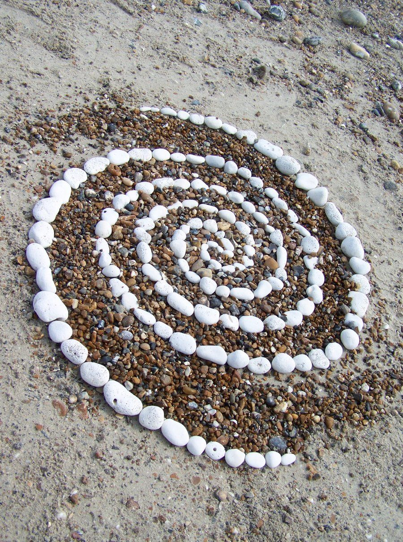 Galaxy. Pebble spiral, Worthing Beach, UK (land art by Dishtwiner ...