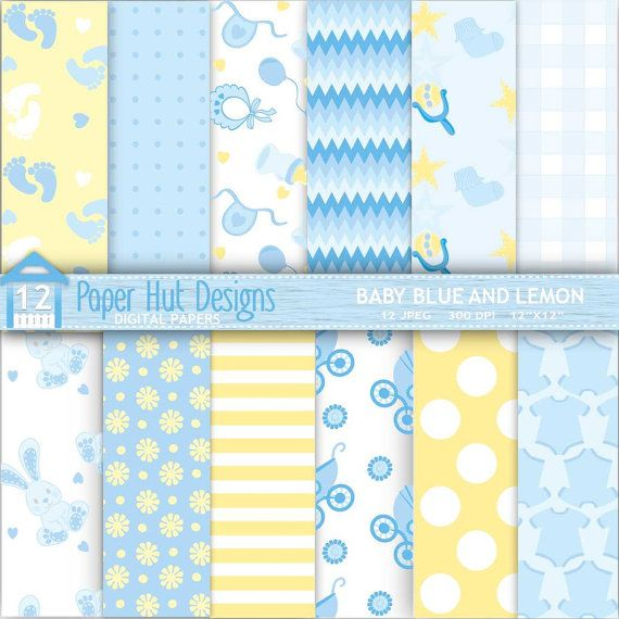 """Baby Blue and Lemon Digital Papers for Personal or Commercial Use. Perfect for Backgrounds, Baby Albums, Invitations, Card design and Scrapbooking.  SHOP FOR MATCHING CLIPART HERE:- https://www.etsy.com/listing/280266596/baby-boy-blue-digital-clipart-papers  WHAT YOU WILL RECEIVE: High quality 300 dpi JPEG 12""""x 12"""" files. JPEG Suitable for all image programs. Ideal for digital and for printing.  NO WATERMARKS ARE INCLUDED ON THE PURCHASED DIGITAL PAPERS  WHAT YOU CAN ..."""