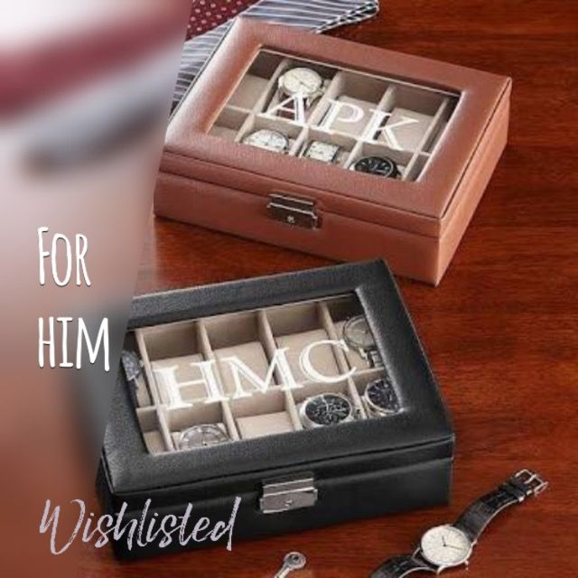 A #monogrammed #watch box makes a great #Valentine's or #birthday gift for him. #giftideas #giftsforhim #giftsformen #valentinesday #myman #hubby #wishlisted