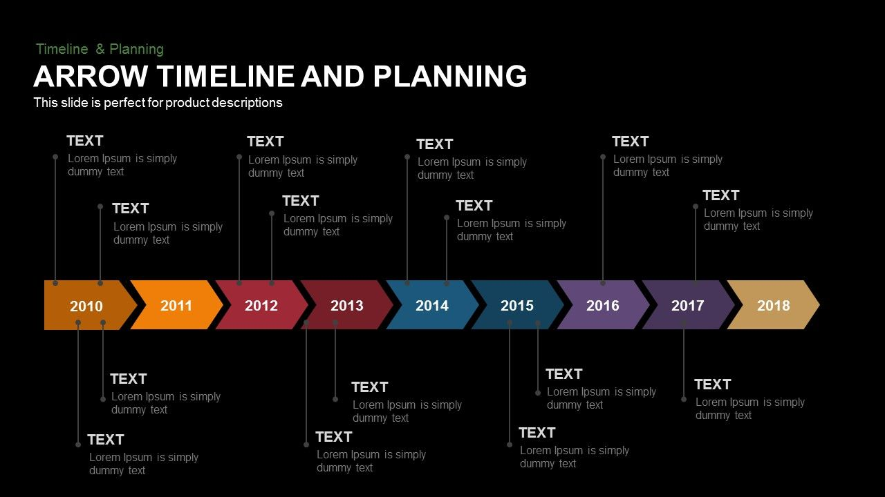 Arrow Timeline And Planning Powerpoint And Keynote Template Is A Slide With  A Difference, As The Title Says It Is Used To Demonstrate Timeline Of An ...