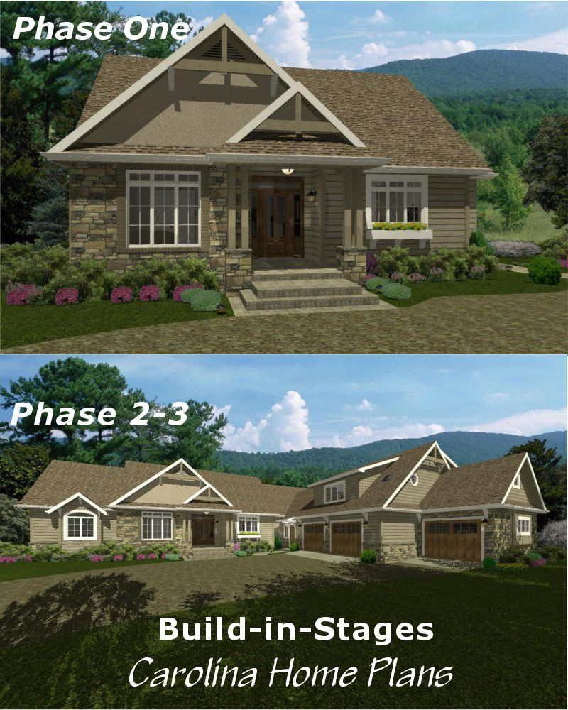 Start out small end up with 4 bedrooms plus study and 3 for Small craftsman house plans with garage