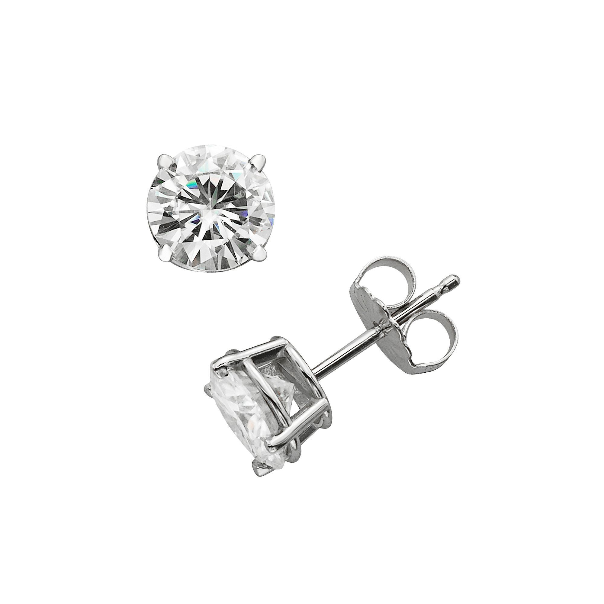 lab round forever white gold earrings moissanite ct t stud created pin cut w brilliant