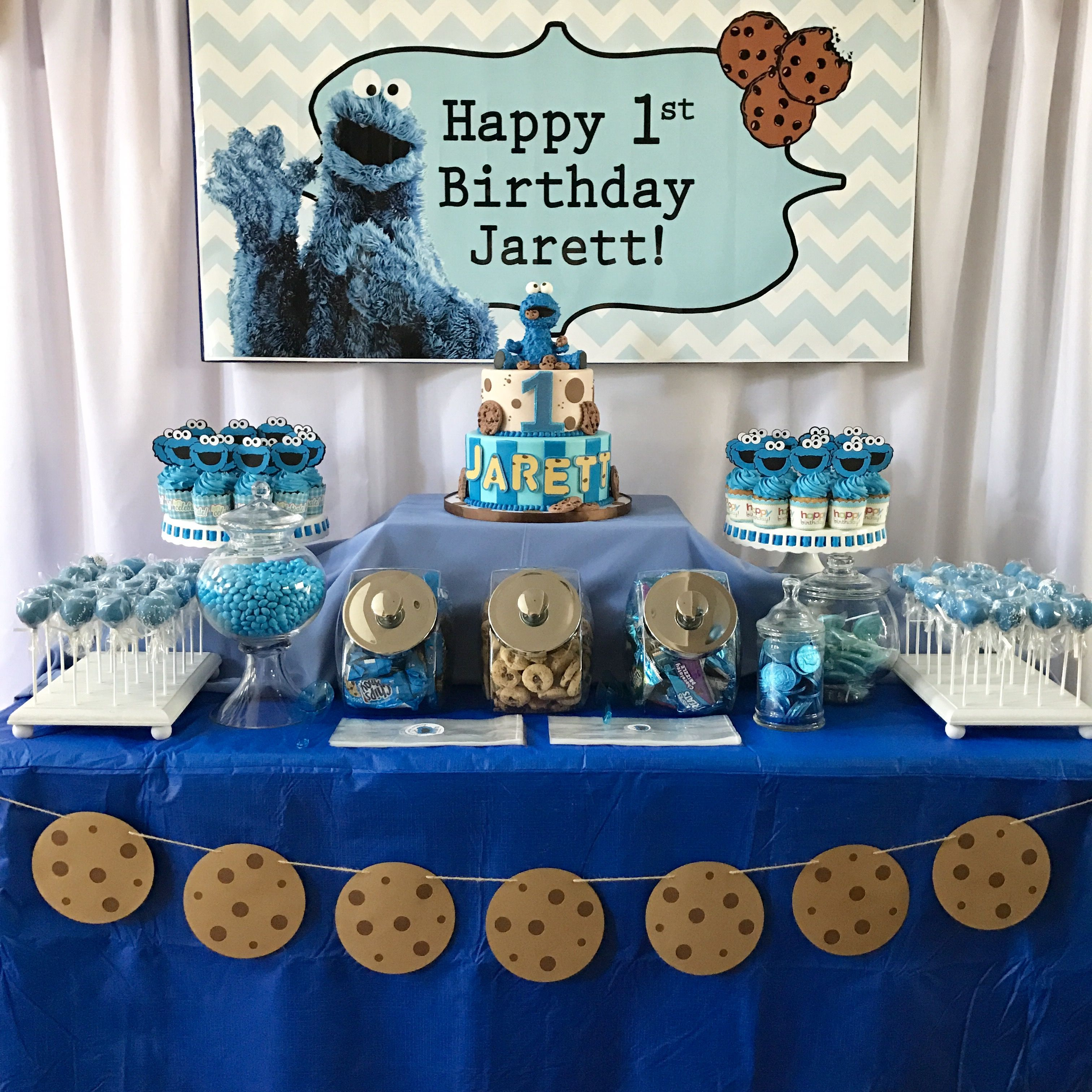 Cookie Monster Themed Dessert Table By Cyndetails Ig Cyndetails Cookiem Cookie Monster Birthday Party Cookie Monster Party Decorations Cookie Monster Party