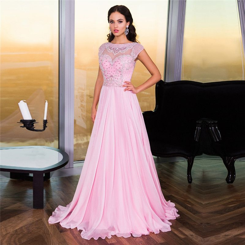 Find More Evening Dresses Information about Charming Pink Long Prom ...