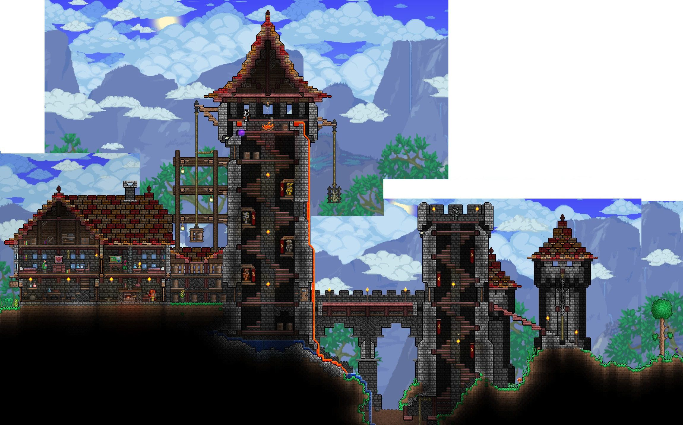 Terraria castle tower castle tower any tips terraria - A Castle Created In Terraria