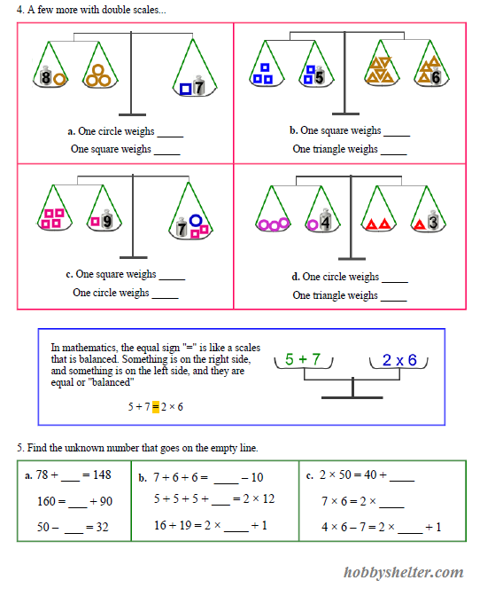 Pan Balance Problems | Kiddo Shelter | Math Worksheets for ...