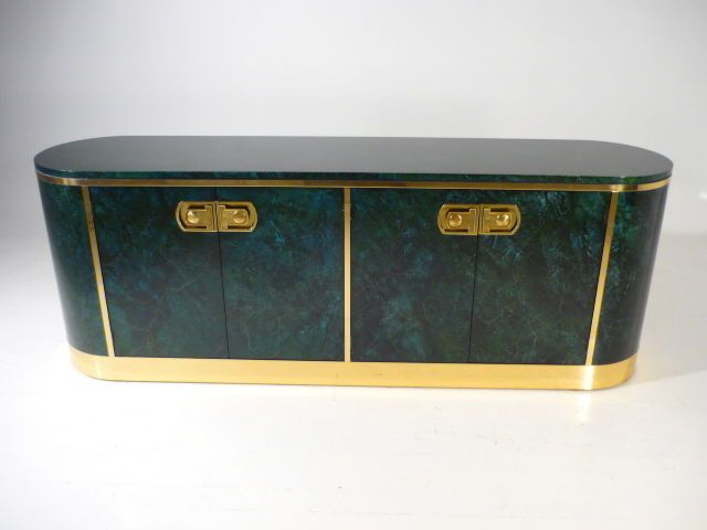 MASTERCRAFT Oval Credenza w/Malachite Laquer Finish Br Mid ... on oval closet, oval dresser, oval bassinet, oval mirror, oval bench, oval shelves, oval vanity, oval lighting, oval furniture, oval commode, oval dining room set, oval rug,