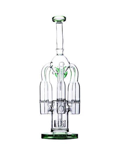 Glass Beaker Bong Light Purple with Honeycomb Recycler Water Pipe Bottle Bongs