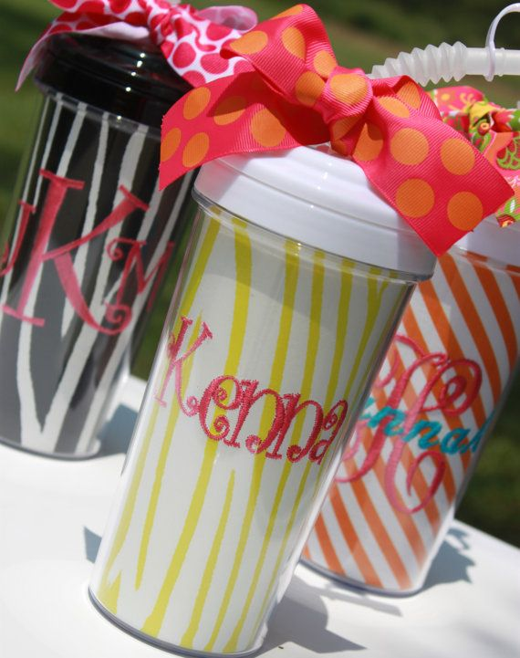 20 oz plastic tumbler cup with straw personalized monogrammed gift