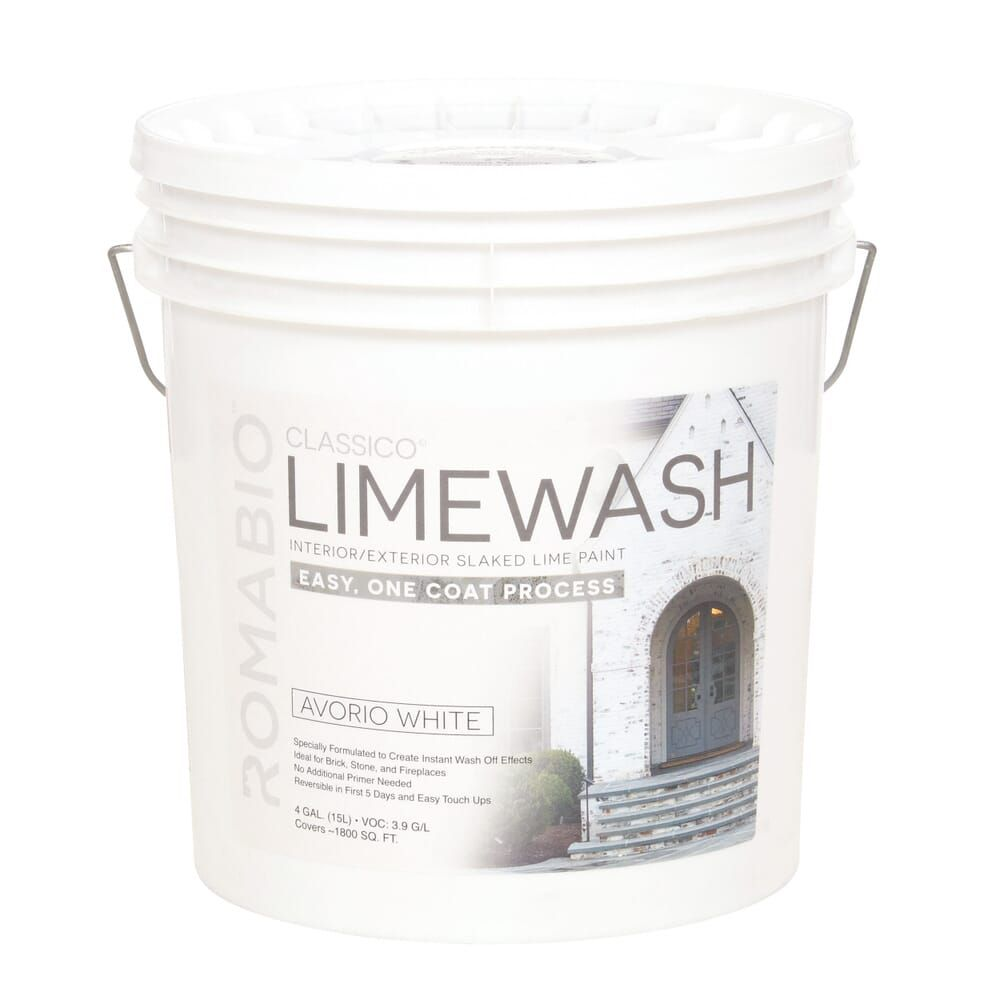 Romabio 4 Gal Avorio White Limewash Interior Exterior Paint 101152 The Home Depot In 2020 Limewash Exterior Paint Lime Wash Brick