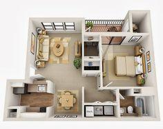 Departamentos peque os planos y dise o en 3d depaa 3d for Construye tu casa en 3d