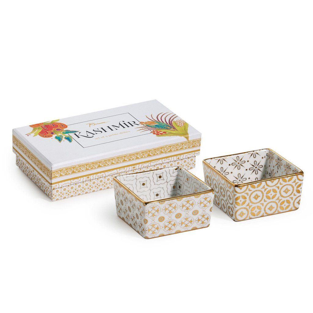 Kashmir Gold Petite Square Dishes - Set of Two - Waiting On Martha - 2