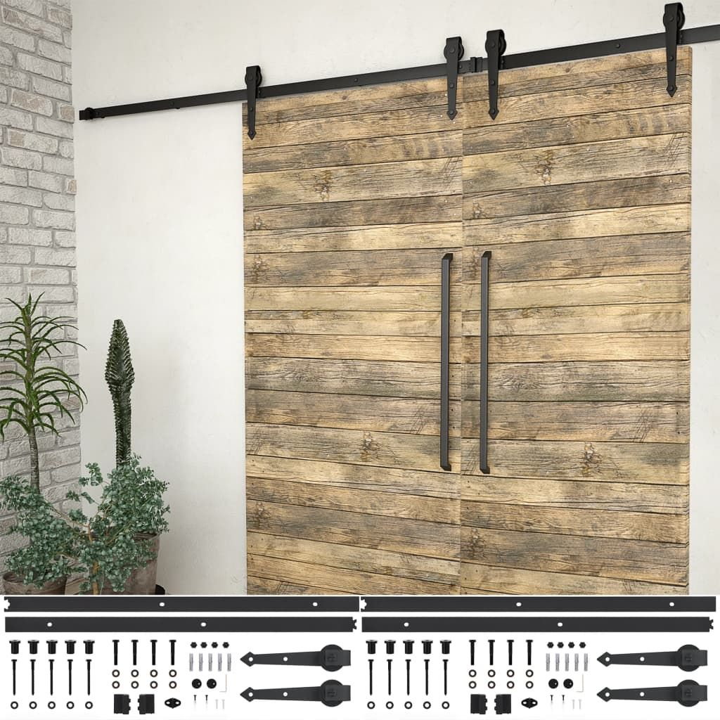 vida XL sliding door fitting sets 2 pcs. 200 cm steel black