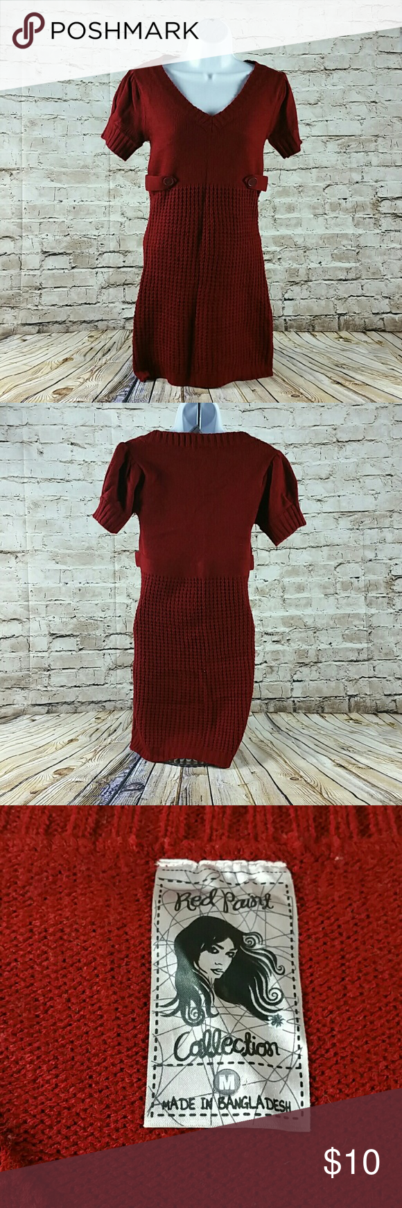 Womens Sweater Dress V Neck Sweater Dress, Short Sleeve. Red Paint Collection  Skirts