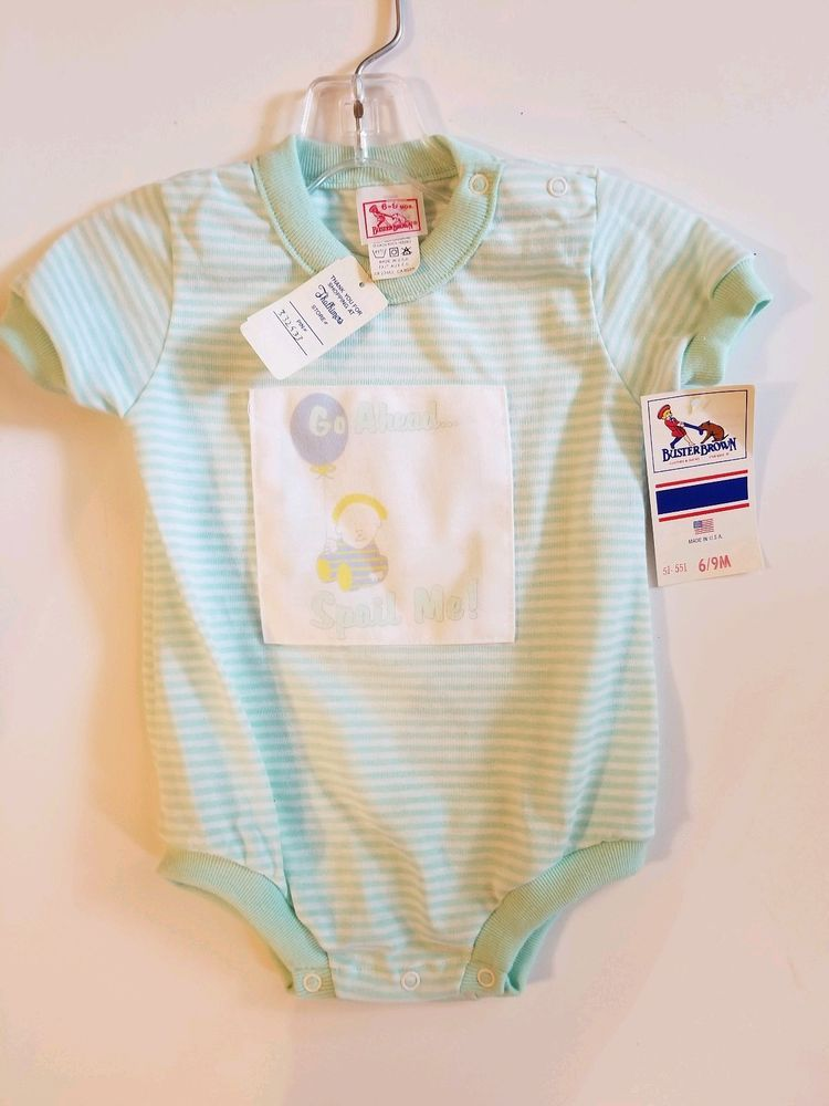 ceeae8b1 New Vintage Baby Romper Buster Brown new w tag 6-9 Month Boy Green ...