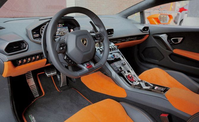 2015 Lamborghini Huracan Orange Black Grey Interior Seats Door