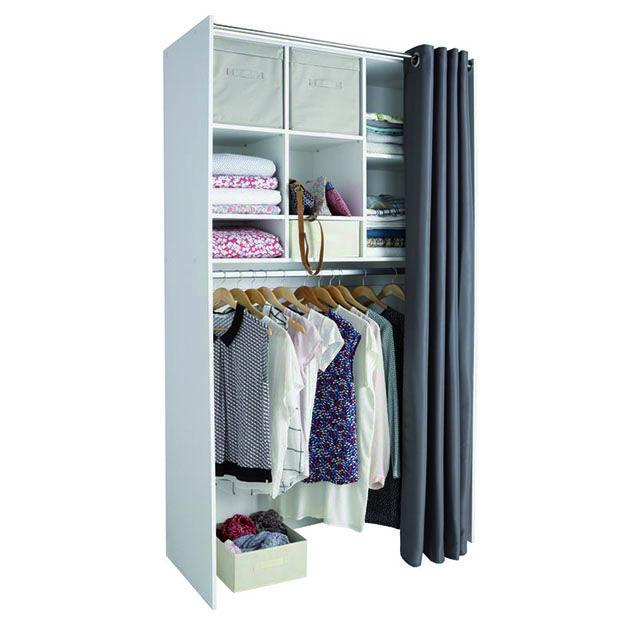 dressing tout en un blanc avec rideau castorama a acheter pinterest dressings. Black Bedroom Furniture Sets. Home Design Ideas