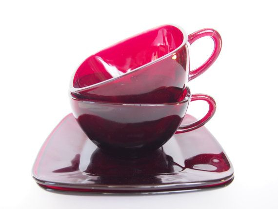 Ruby Red Glass Teacups And Square Saucer Plates Set For Two Etsy Glass Tea Cups Tea Cups Red Glass