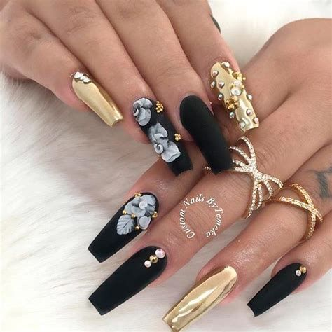 5 nail designs coffin black 2020 in 2020  coffin shape