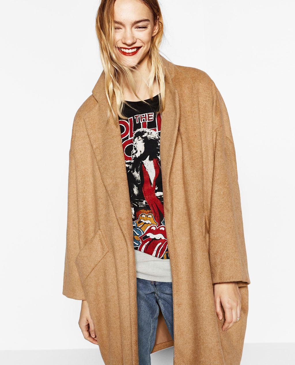 abrigo zara oversize camel
