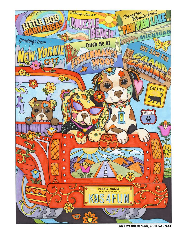 Creative Haven Dazzling Dogs Coloring Book By Marjorie Sarnat Road Trip Color