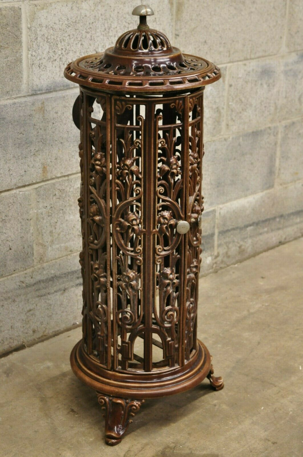 Antique French Victorian Round Cast Iron Wood Burning Brown Enamel Stove Heater Ebay In 2020 French Antiques Stove Heater Stove