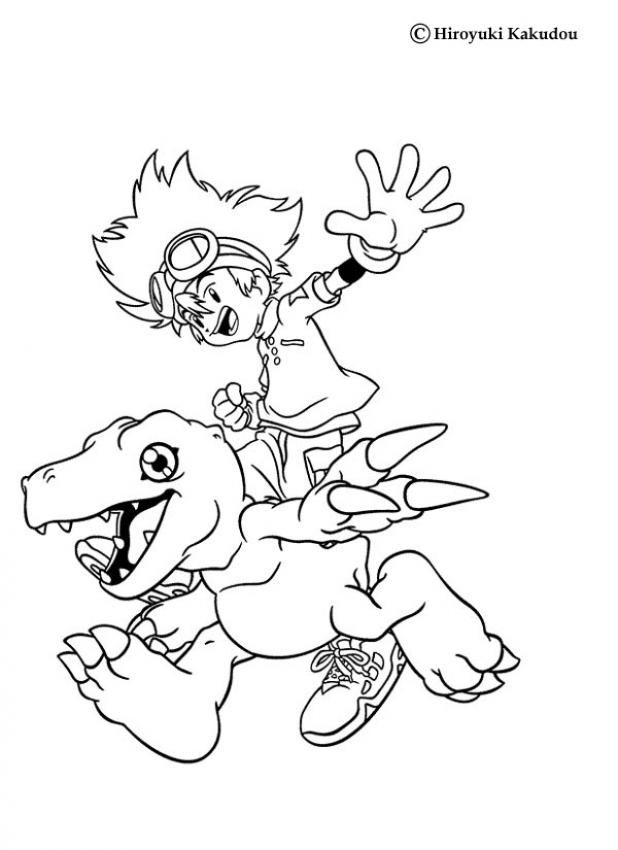Tai and Agumon coloring page More Digimon coloring sheets on