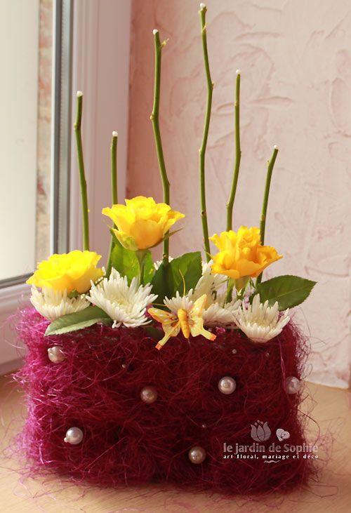 composition florale moderne jaune et violet flower pinterest. Black Bedroom Furniture Sets. Home Design Ideas