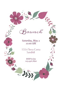 Circling Flowers Brunch Brunch Lunch Invitation Template Free Greetings Island Wedding Invitations Printable Templates Free Printable Wedding Invitation Templates Free Printable Invitations Templates